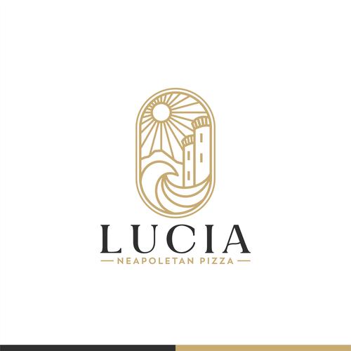 Pizzeria design with the title 'Logo for Lucia Neapolitan Pizza'