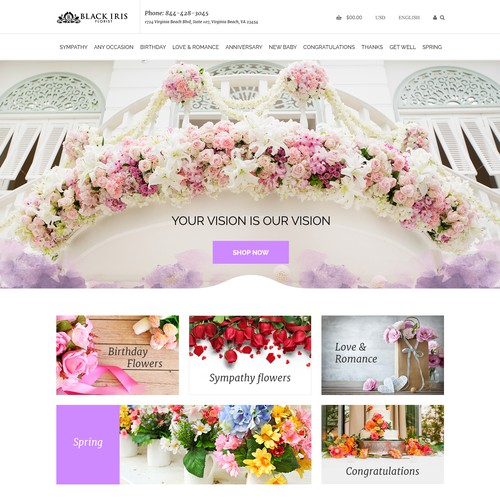 Overlay design with the title 'Design A Beautiful High-End Florist Website'