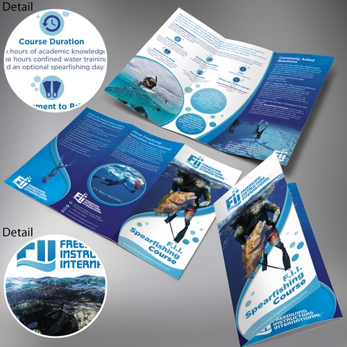 Diving design with the title 'Brochure design for a contest F.I.I. Spearfishing Course'
