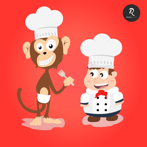 Monkey artwork with the title 'Lovely and modern characters for kids // Looking for longtime designer!!!'