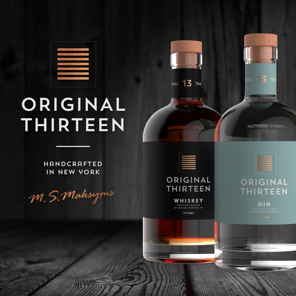 Whiskey packaging with the title 'Minimalistic Logo for Craft Distillery in New York'