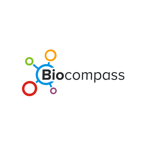 Biology logo with the title 'Biocompass logo design'