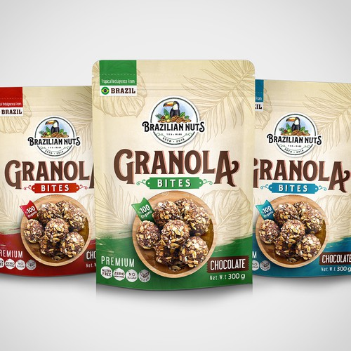 Packet packaging with the title 'Premium Granola Bites'