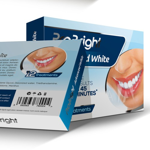 Cosmetics packaging with the title 'ProBright Teeth Whitening Kit Box Design'