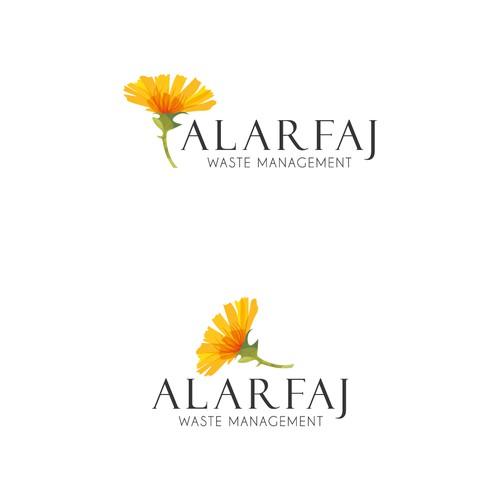 3D gold logo with the title 'ALARFAJ logo'