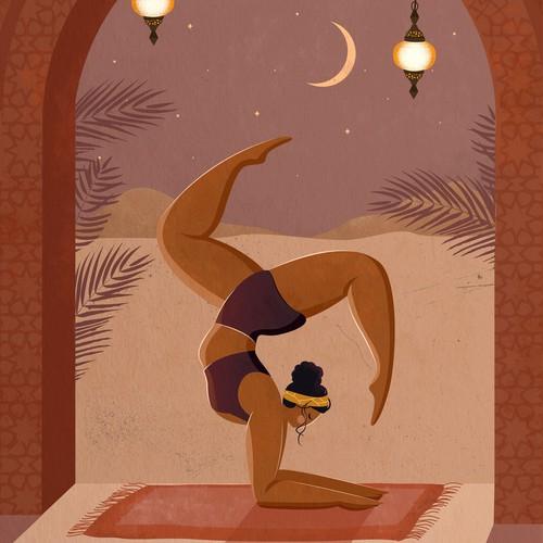 Texture artwork with the title 'Minimalistic Yoga Illustration'