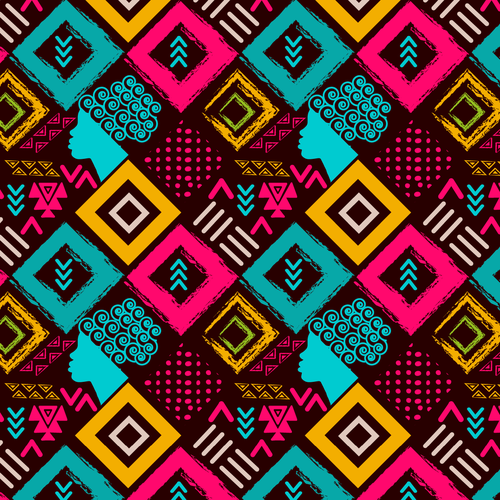 Women illustration with the title 'colorful pattern for women of colors'