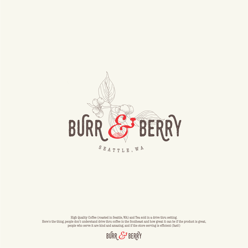 Berry design with the title 'Warm and clever design for a drive thru coffee'
