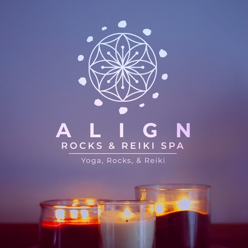 Reiki design with the title ''Align Rocks & Reiki Spa' Logo Design Concept'