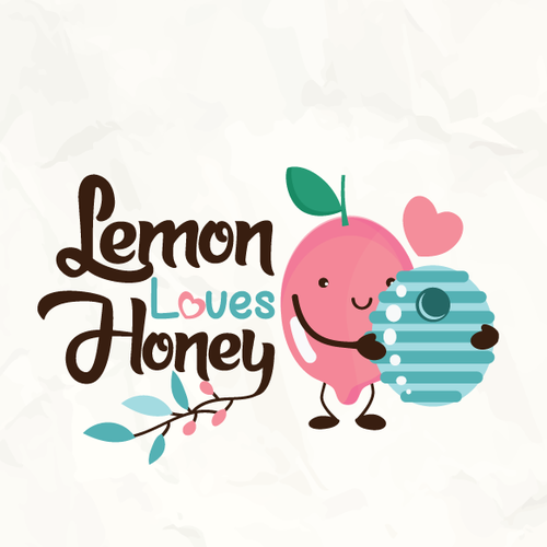 Blue and pink logo with the title 'Cute concept of a lemon and a beehive!'