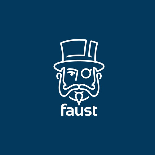 Hat logo with the title 'Simple, abstract logo for Faust App'