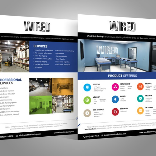 Attractive design with the title 'Create a Line Card brochure for Wired Distributing'