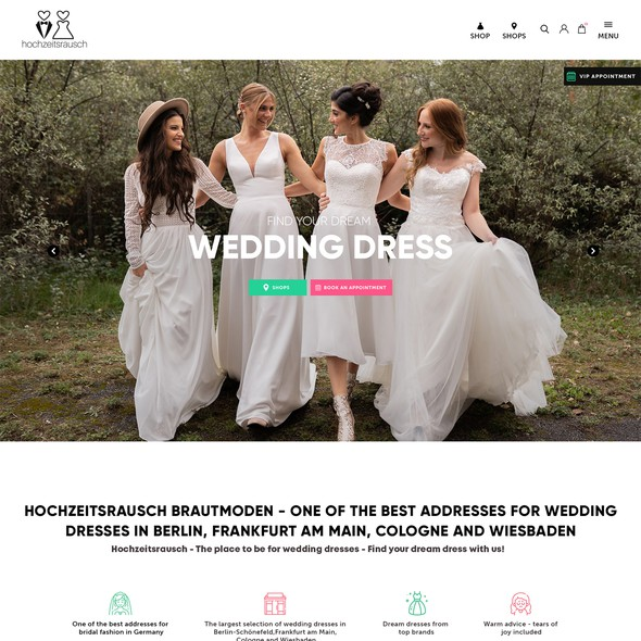 Creative website with the title 'hochzeitsrausch Brautmoden'