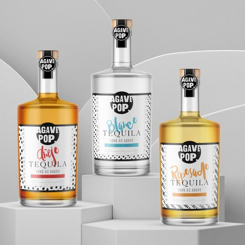 Tequila label with the title 'Modern & trendy label design for Agave Pop tequila brand'