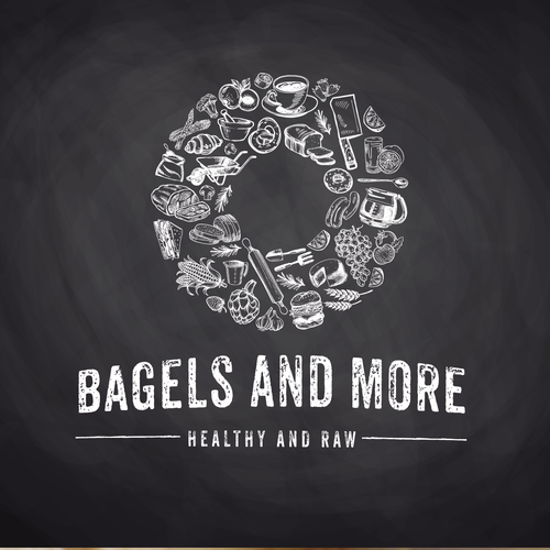 Greek food logo with the title 'Bagels And More'