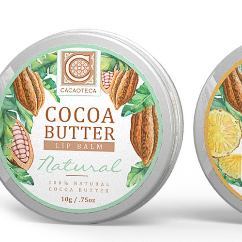 Pineapple design with the title 'Cocoa Butter Lip Balm'