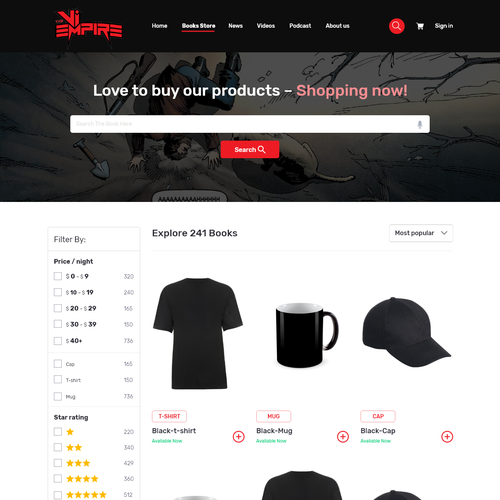 Product design website with the title 'The products store Page'