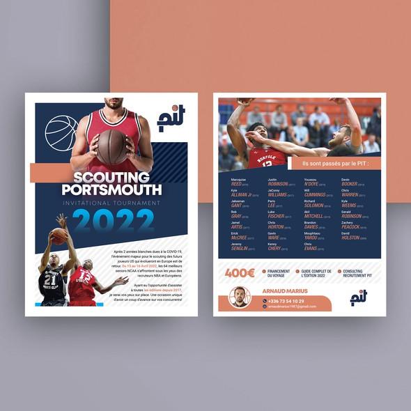 Basketball design with the title 'Need a commercial support for a Basketball Scouting trip'