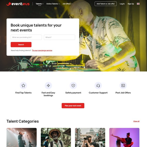 Booking website with the title 'Eventeus website'