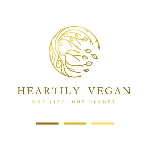 Vegan logo with the title 'Heartily Vegan'