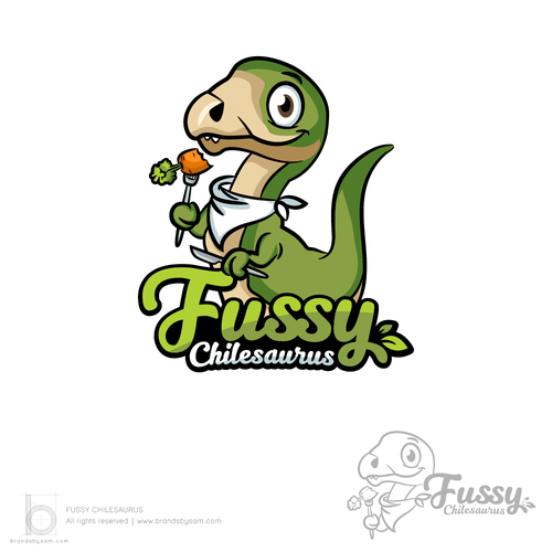 Eating design with the title 'Logo Design for Fussy Chilesaurus'