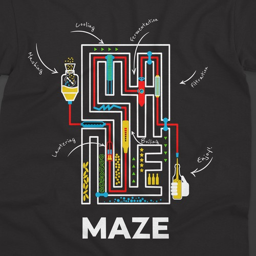 Bar t-shirt with the title 'T-shirt design for Maze brewing company'