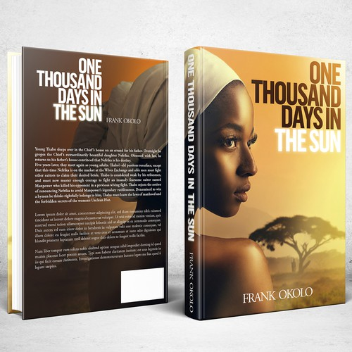 Sun design with the title 'Book cover design for novel One Thousand Days In The Sun'