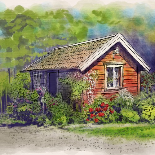 Nature illustration with the title 'beautiful cottage '