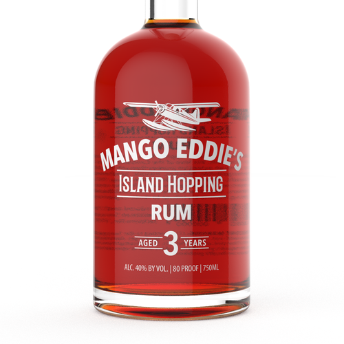Minimalist label with the title 'Mango Eddie's Rum Bottle Design'