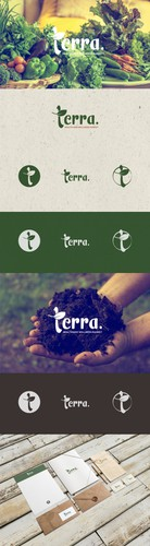 """Aesthetic brand with the title 'Create a logo for a new natural foods and supplement store called """"terra."""".'"""