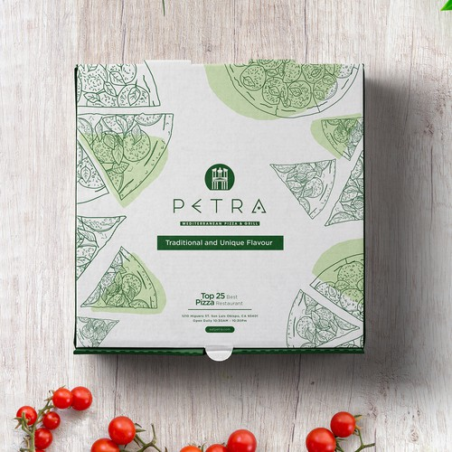 Pizza box packaging with the title 'Petra Pizza Restaurant'