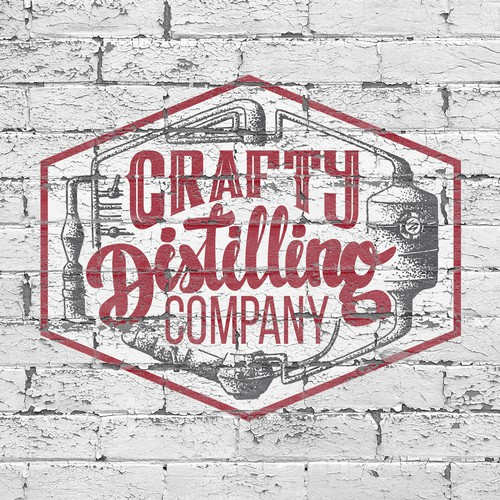 Badge logo with the title 'Create a capturing classic distillery illustration for Crafty Distilling Company'