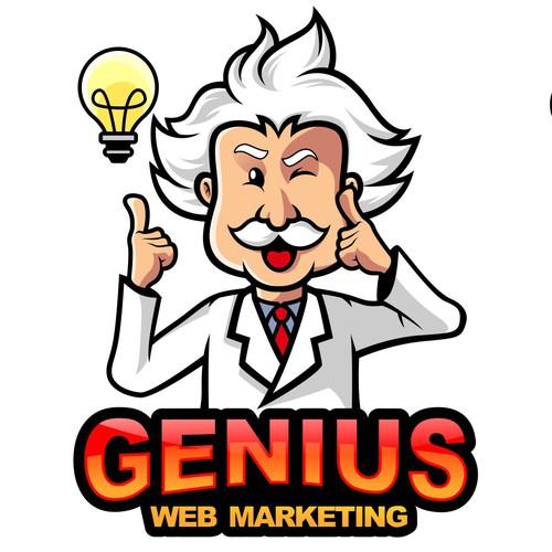 Einstein logo with the title 'Logo Design for Genius Web Marketing'