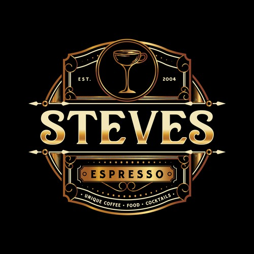 Espresso logo with the title 'Unique Logo for a Cocktail bar and Coffee House'