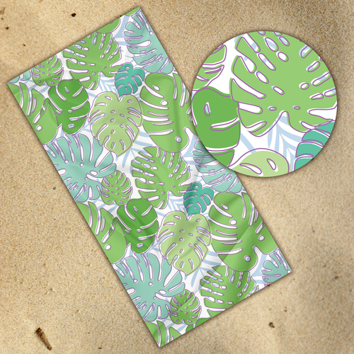 Green artwork with the title 'Philodendron Pattern Towel'