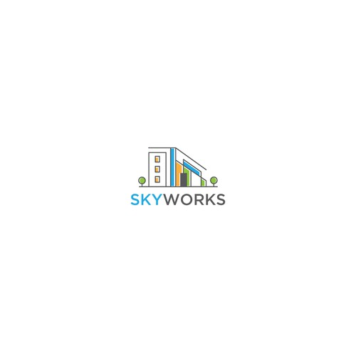 Contemporary logo with the title 'Colourful and contemporary design for skyworks'
