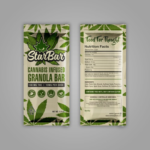 Whey packaging with the title 'Cannabis Granola Bar Package'