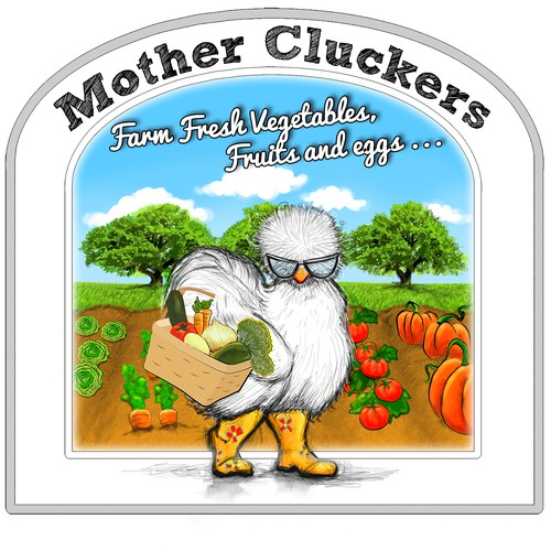 Chicken brand with the title 'Brand Identity Pack - Mother Cluckers Farm Fresh Eggs and Vegetables - Unique'