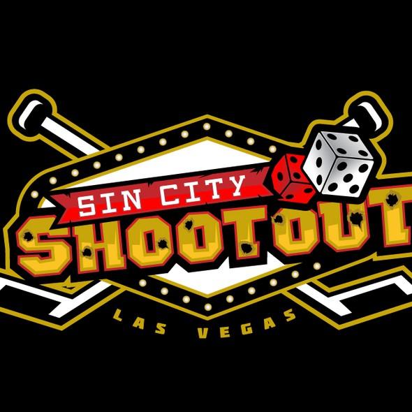 Stick design with the title 'Vegas hockey tournament logo'
