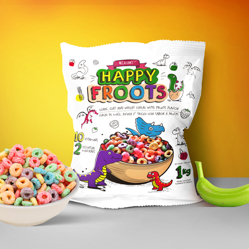Cereal packaging with the title 'Fun Breakfast Happy Fruit Cereal'