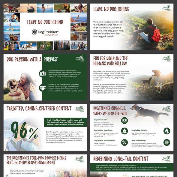 Energetic design with the title 'a Media Kit for DogTrekker.com'