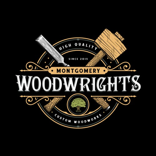 Woodworking design with the title 'Montgomery Woodwrights'