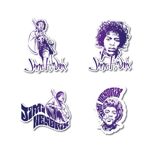 Musician illustration with the title 'Jimi Hendrix Stickers'