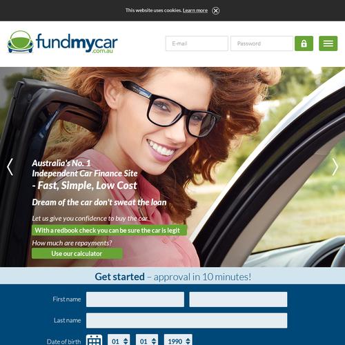 Desktop design with the title 'Website design for FundMyCar'