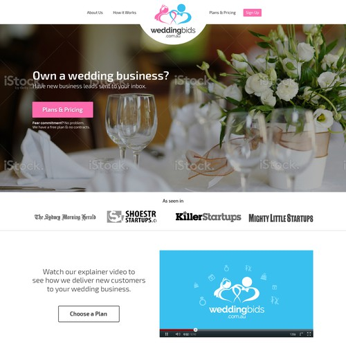 Marketplace design with the title 'Landing page for wedding service marketplace.'
