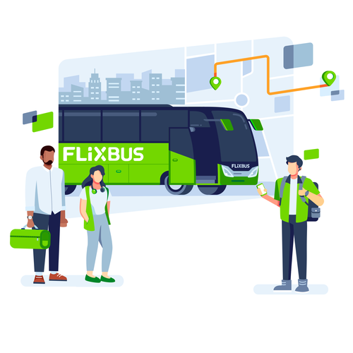 Bus design with the title 'Flixbus Main Illustration'