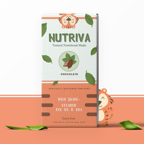 Beverage packaging with the title 'playful healthy organic milk shake for kids'