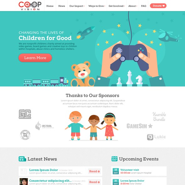 Charity website with the title 'Children's Charity'