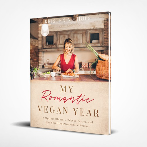 """Modern book cover with the title '""""My Romantic Vegan Year"""" Cookbook'"""