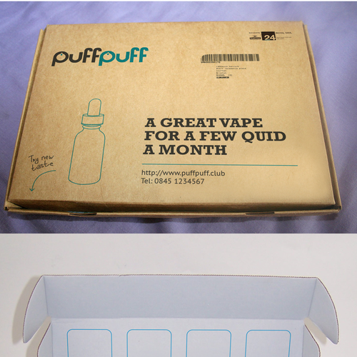 Line art packaging with the title 'Cardboard design for PuffPuff'